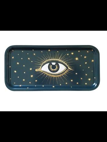 Les Ottomans Eyes wooden tray dark blue