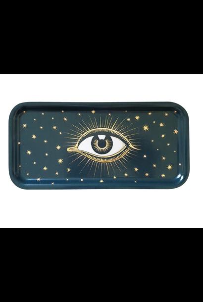 Eyes wooden tray dark blue