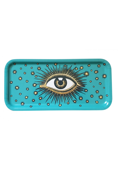 Eyes wooden tray turquoise