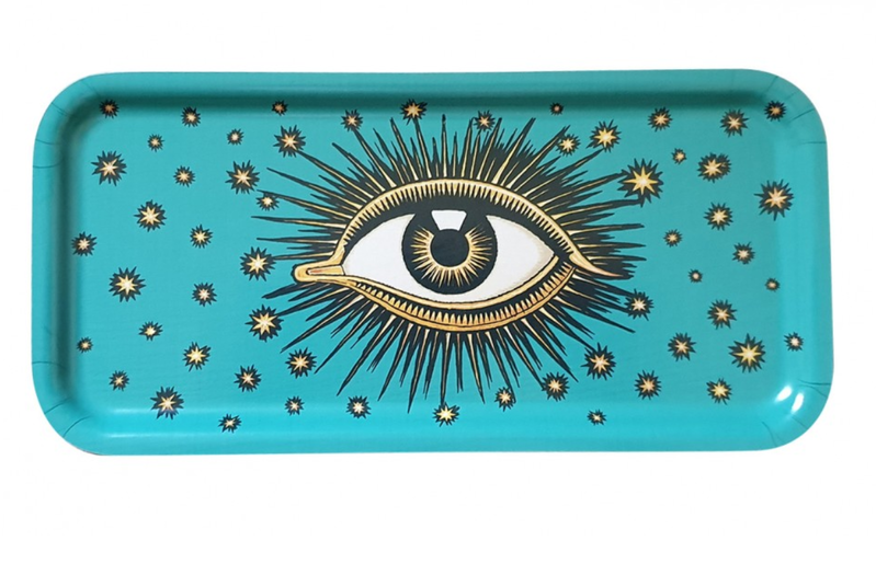 Les Ottomans Eyes wooden tray turquoise