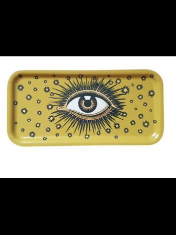 Les Ottomans Eyes wooden tray yellow