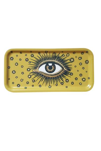 Eyes wooden tray yellow