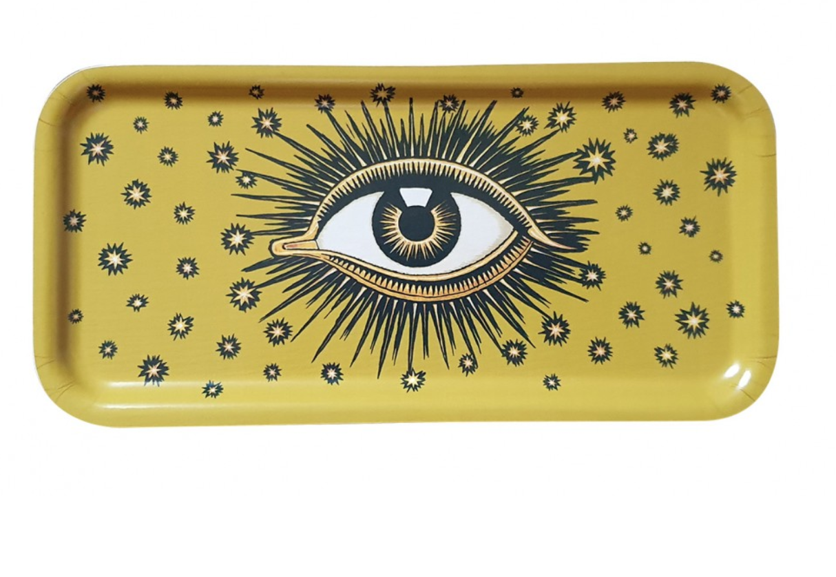 Eyes wooden tray yellow-2