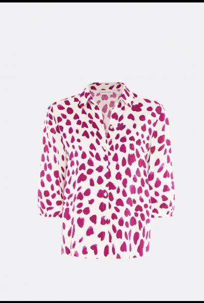 Gina cato blouse  cream white cherry leopard
