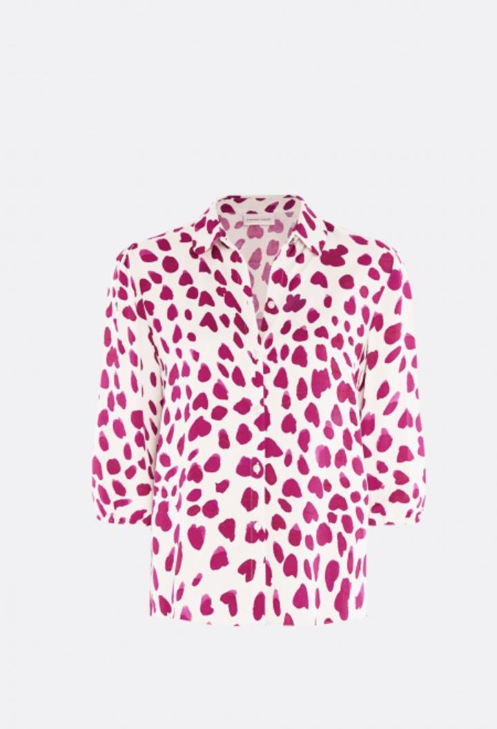 Gina cato blouse  cream white cherry leopard-1