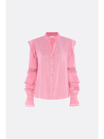 Fabienne Chapot Leo frill embro blouse sweet pink
