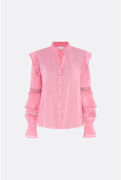 Leo frill embro blouse sweet pink