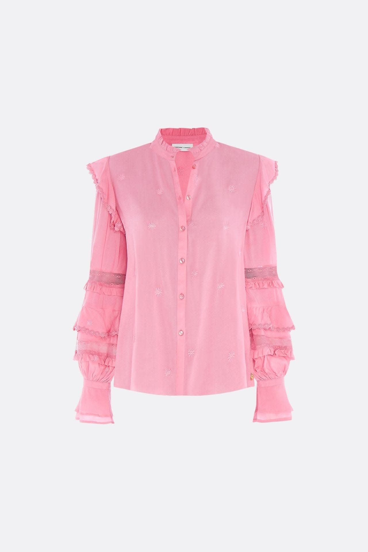 Leo frill embro blouse sweet pink-1