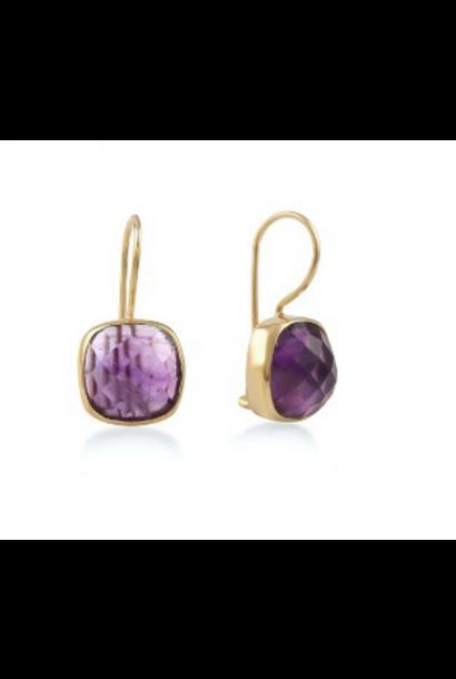 Gouden oorbellen stone Amethyst lila