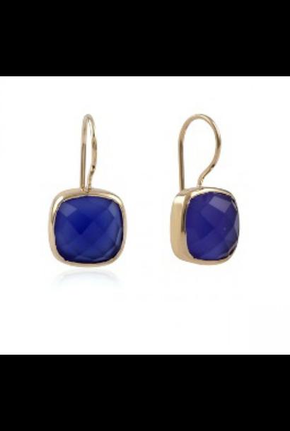Gouden oorbellen stone blue
