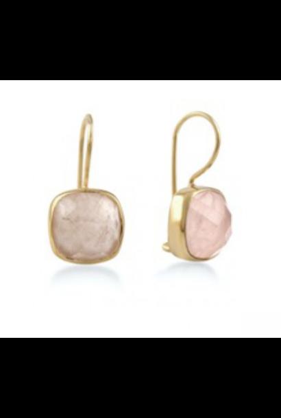 Gouden oorbellen stone rose quartz