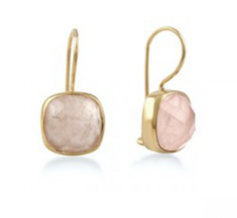 Ps Call Me Gouden oorbellen stone rose quartz