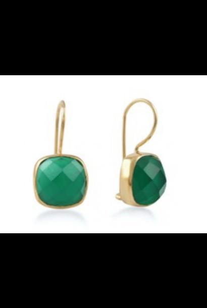 Gouden oorbellen stone smaragd