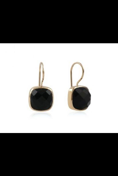 Gouden oorbellen stone onyx