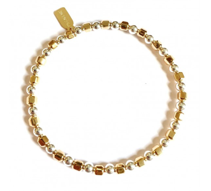 Ps Call Me Bracelet basic bus gold coloured mix round silver