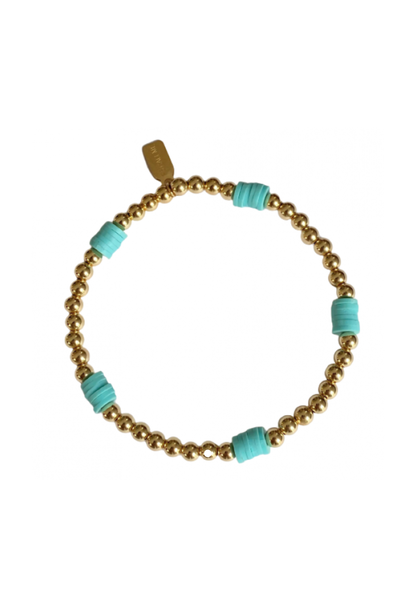 Bracelet beach basic blue gold coloured