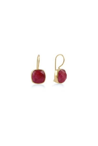 Gouden oorbellen stone ruby