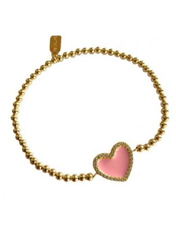 Ps Call Me Bracelet gold pink heart strass