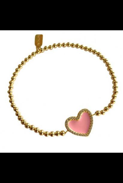 Bracelet heart cc color pink gold coloured