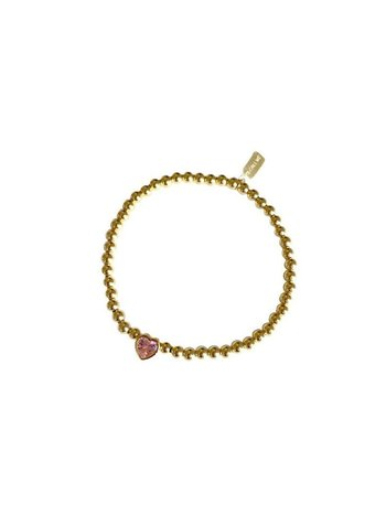 Ps Call Me Bracelet gold heart cube rose quarts
