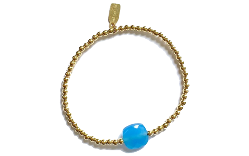 Ps Call Me Bracelet gold coloured light blue