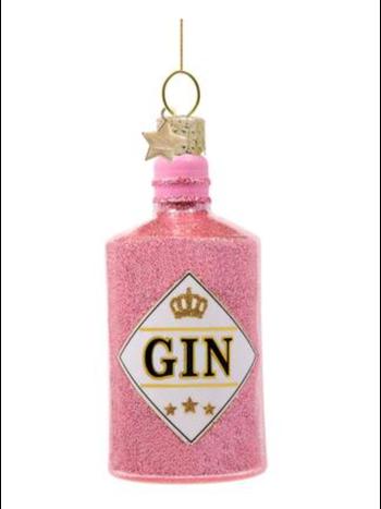 Vondels Amsterdam Kersthanger roze gin fles H10cm