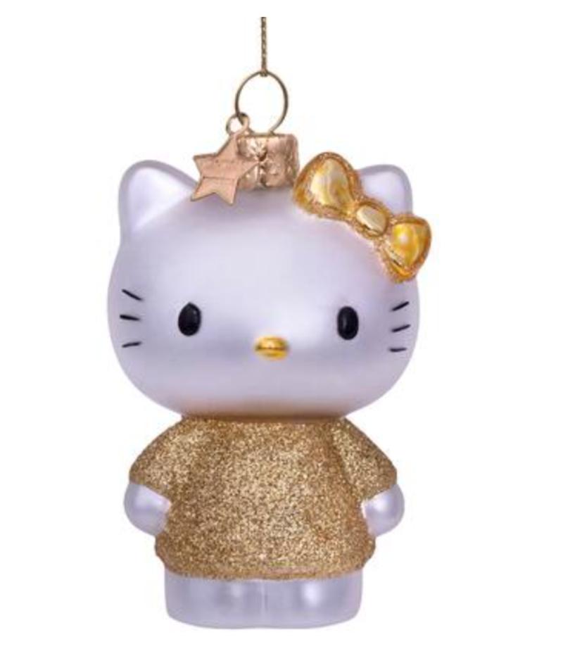 Vondels Amsterdam Kersthanger Hello Kitty met gouden jurk H9cm