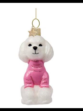 Vondels Amsterdam Kersthanger poodle met roze t-shirt H8cm