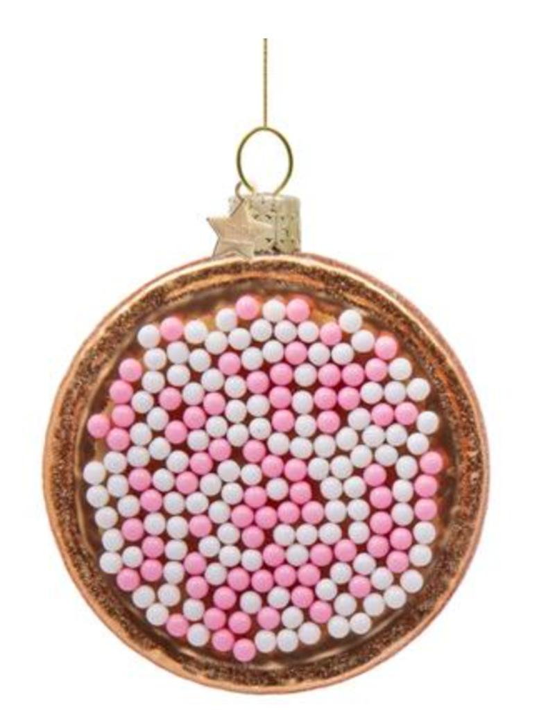 Vondels Amsterdam Kersthanger roze/wit beschuitje H8.5cm