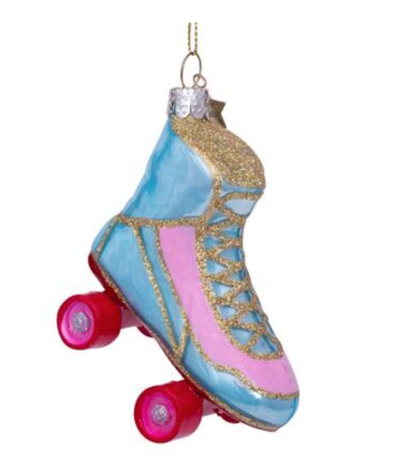 Vondels Amsterdam Kersthanger blauw/roze rolschaatsen H8cm