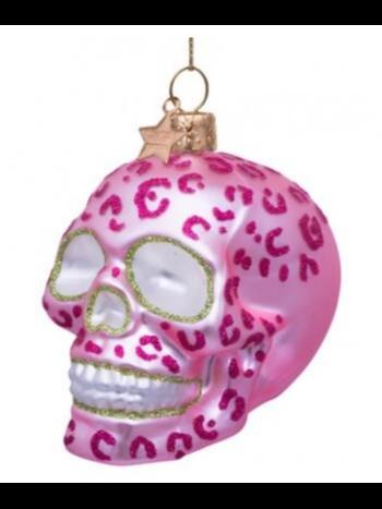 Vondels Amsterdam Kersthanger doodshoofd roze H8cm