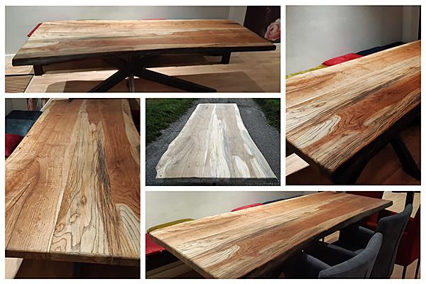 Oud iepen tafelblad in Monocoat Walnut houtolie voor bescherming