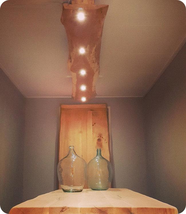 HET TAFELARSENAAL Boomstamlamp 230 cm gemiddeld 30 cm breed | 5 x ledlamp met dimfunctie