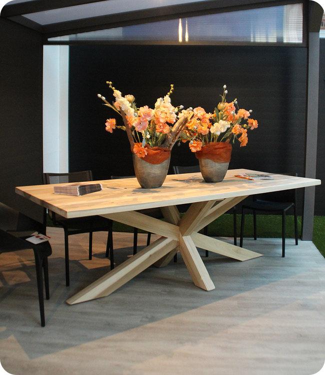 HET TAFELARSENAAL Magnoliahouten tafel Jewel met houten matrix onderstel