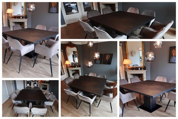 Eiken vierkante tafel kleur 08 Charcoal