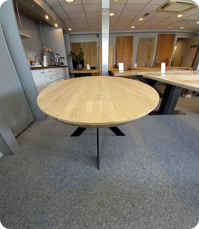 HET TAFELARSENAAL Ovale eikenhouten eettafel Chester 220 x 110 cm | matrix onderstel koker 10 x 2 cm zwart gecoat