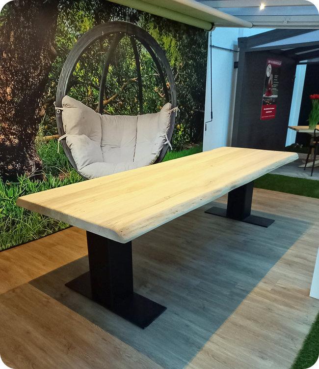 HET TAFELARSENAAL Boomstamtafel 280 x 100 x 6 cm van populierenhout met kolompoot 22 x 22 cm