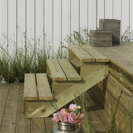Plus Danemark Limon 2 marches pour escalier de jardin en bois autoclave  classe 4
