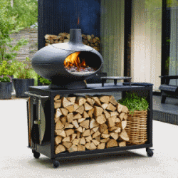 Morso Forno pizza en brood oven op hout