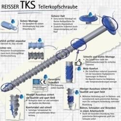 TKS vis extérieure à tête large bois durs Ø8mm en inox A2 téflonné