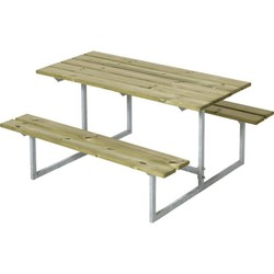 Design children's picnic table in galvanized steel and wood