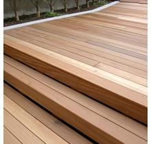 Lame de terrasse bois dur Red Balau - Bangkirai 28x145 ASR (1 coté lisse, 1 coté 7 rainures)