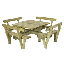Square picnic table 237cm with backrest from pressure treated timber