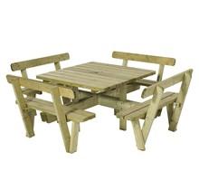 Table pique-nique carré 237 cm en bois autoclave avec 4 bancs et dossiers