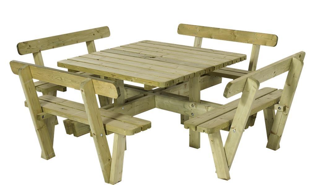 Plus Danemark Table pique-nique carré 237 cm en bois autoclave avec 4 bancs  et dossiers
