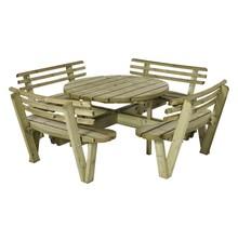 Table pique-nique ronde 237cm en bois autoclave, avec 4 bancs et dossiers