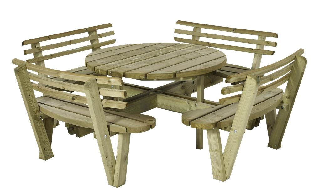 Round Picnic Table 237cm With Backrest, How To Build A Round Picnic Table And Benches