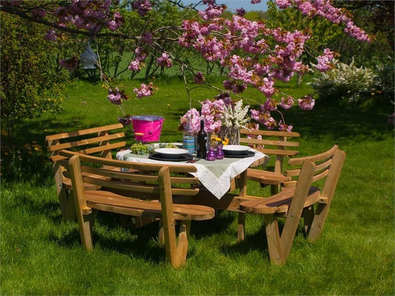 Plus Danemark Table pique-nique ronde 237cm en bois autoclave, avec 4 bancs  et dossiers