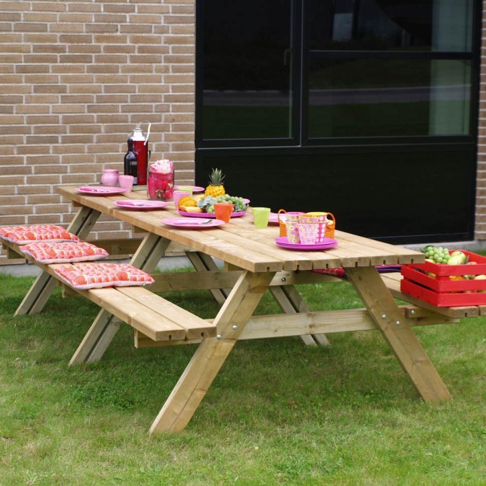 Picknick Tafel Stevig.Plus Danemark Picknicktafel Xxl 300 Cm Van Geimpregneerd Hout