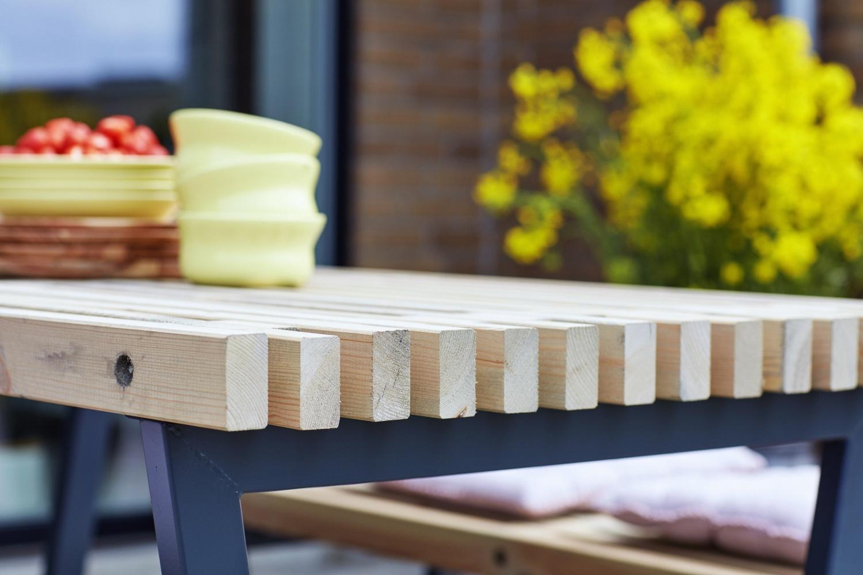 Plus Danemark SIESTA - ensemble table et 2 bancs de jardin lasuré  bois-flotté